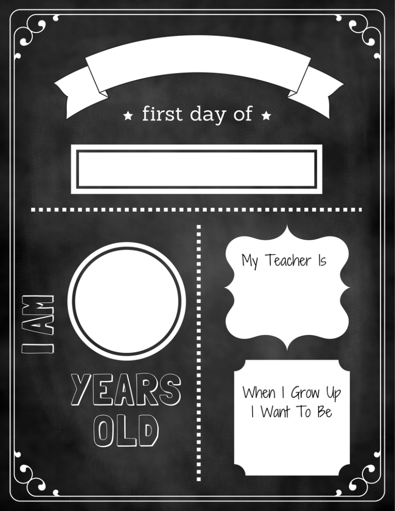 The Blue Elephant - August 2017 - 1st Day Chalkboard Template