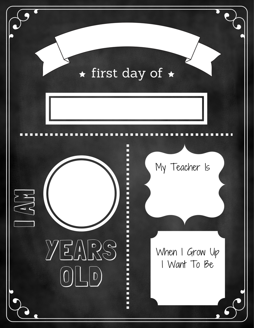 image regarding First Day of School Sign Printable referred to as 1st Working day Of Faculty Chalkboard Signal Early Studying Middle