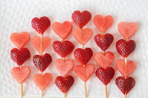 heart shape strawberry and watermelon fruit skewers